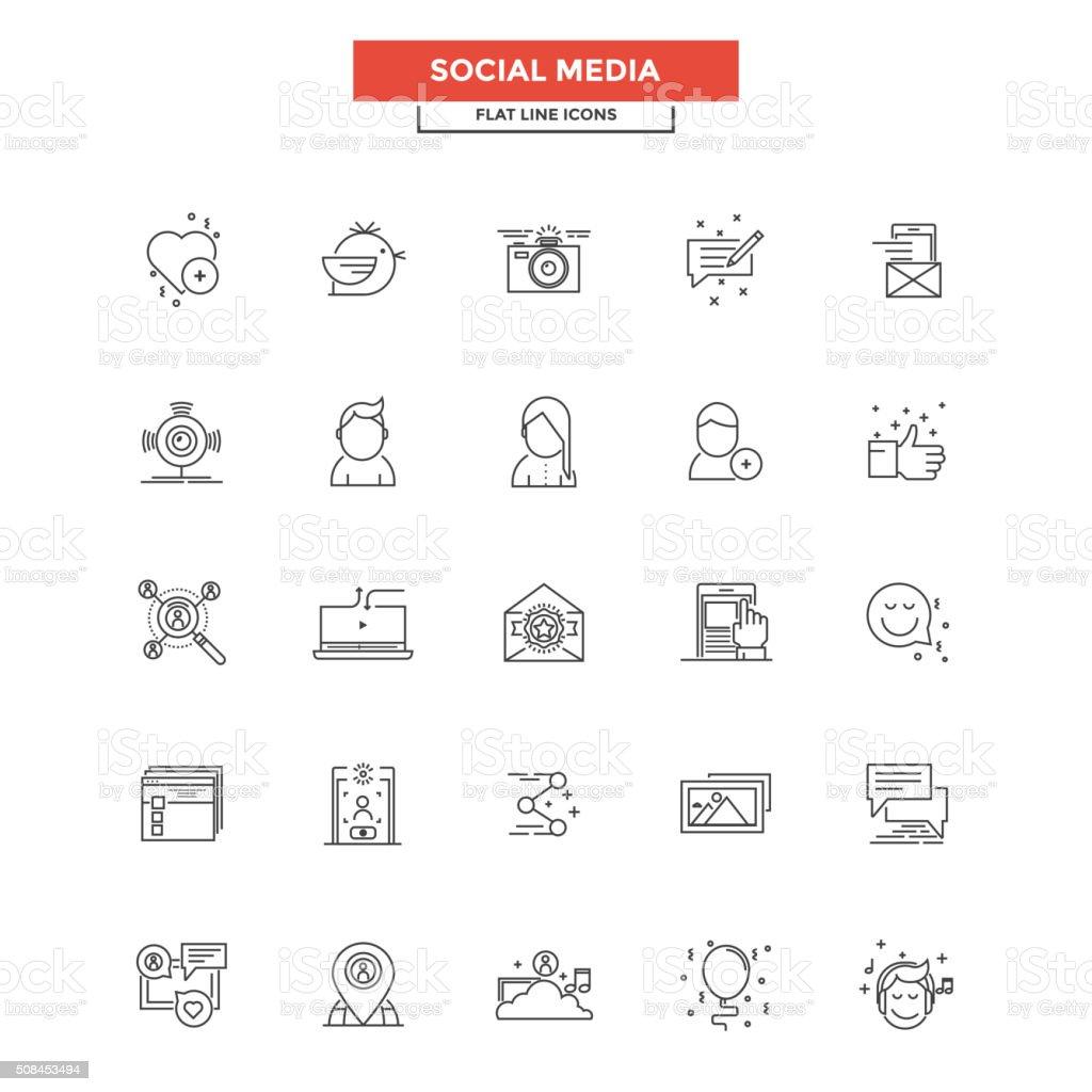 Flat Line  Icons- Social media vector art illustration