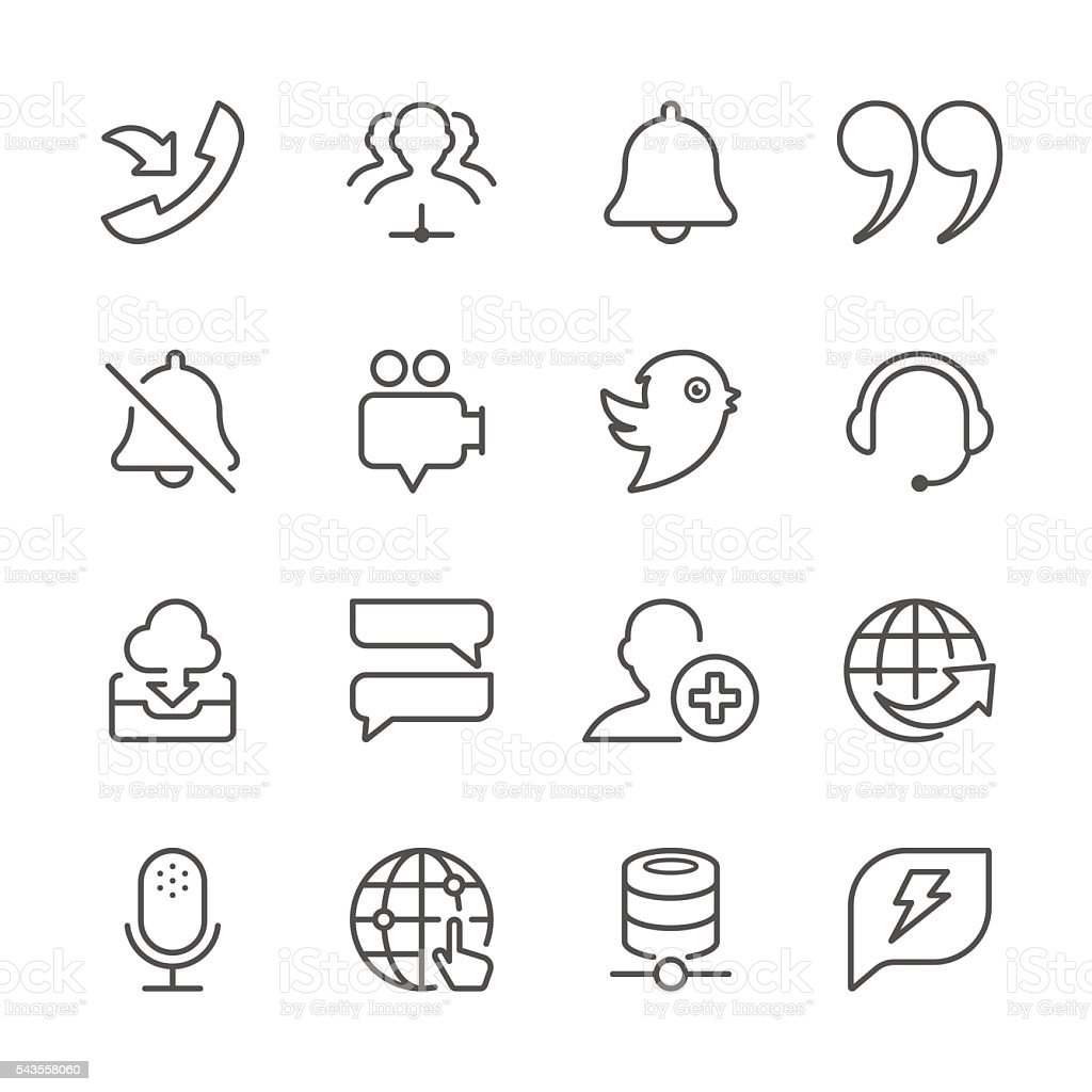 Flat Line icons - Social Network Series vector art illustration