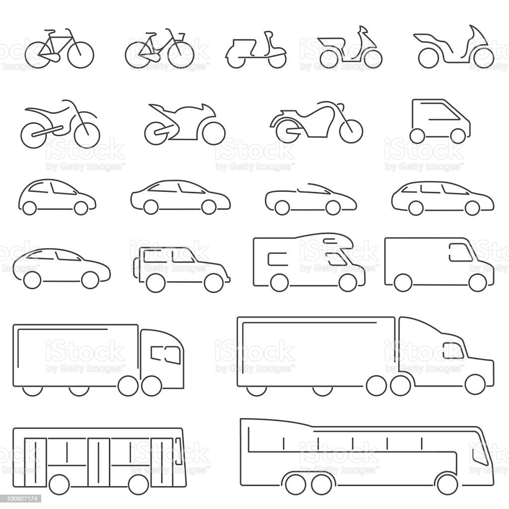 Flat Line icons - Transportation Vehicles Icons - Illustration vector art illustration