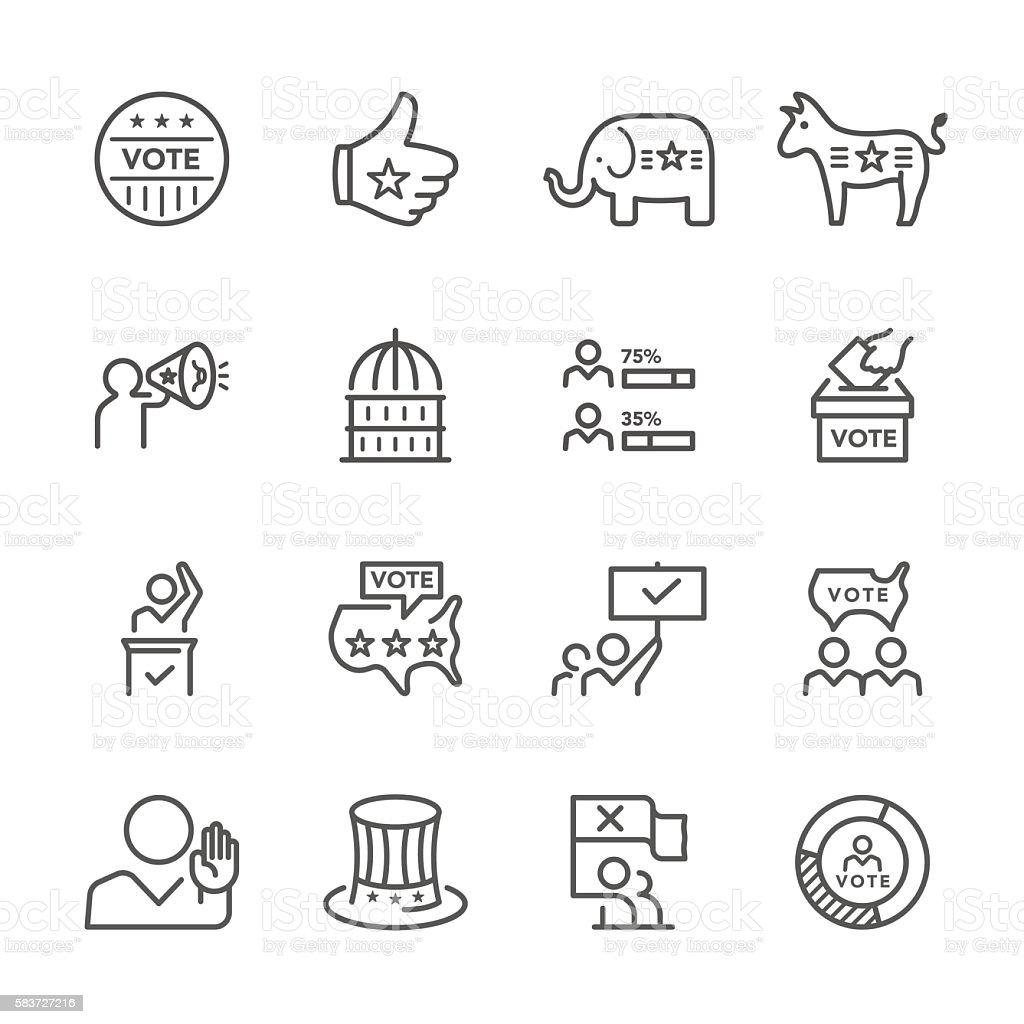 Flat Line icons - vote Series vector art illustration