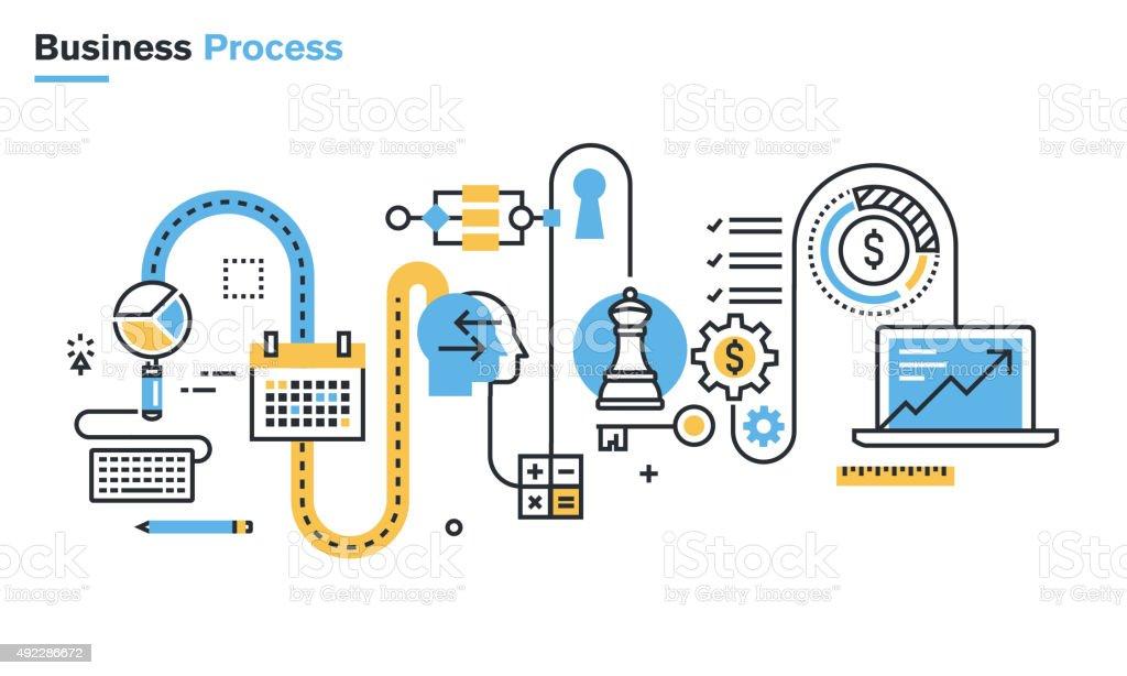 Flat line illustration of business process vector art illustration