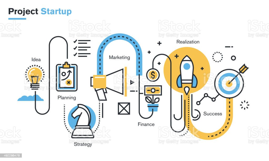Flat line illustration of business project startup process vector art illustration