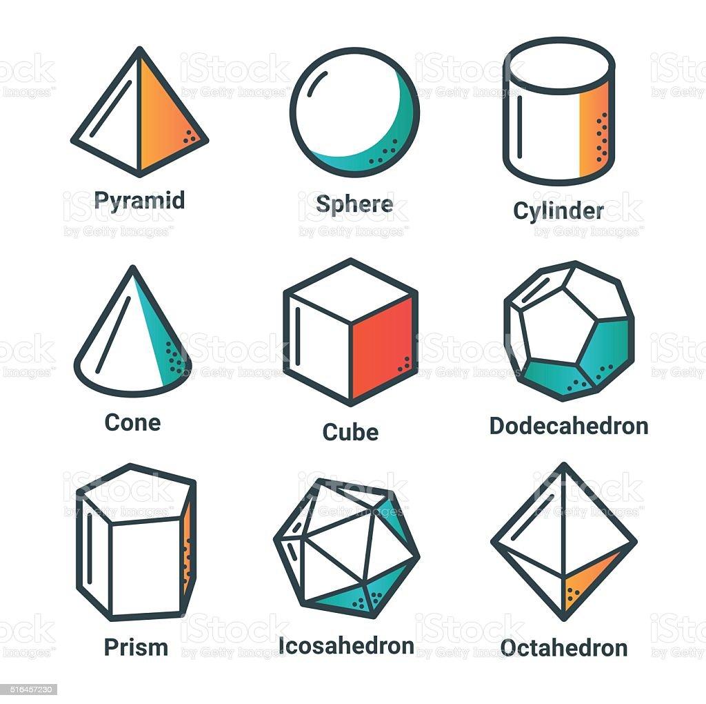 Flat line isometric shapes light vector art illustration