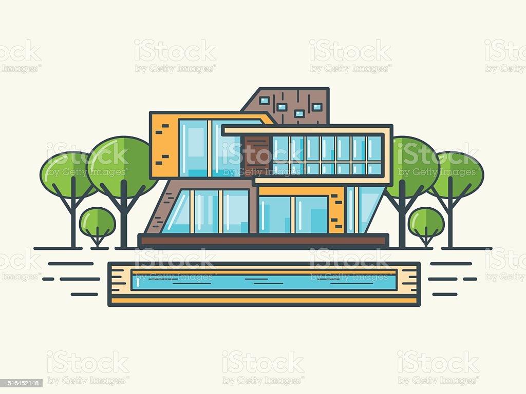 Flat Line Modern House stock vector art 516452148 iStock - ^