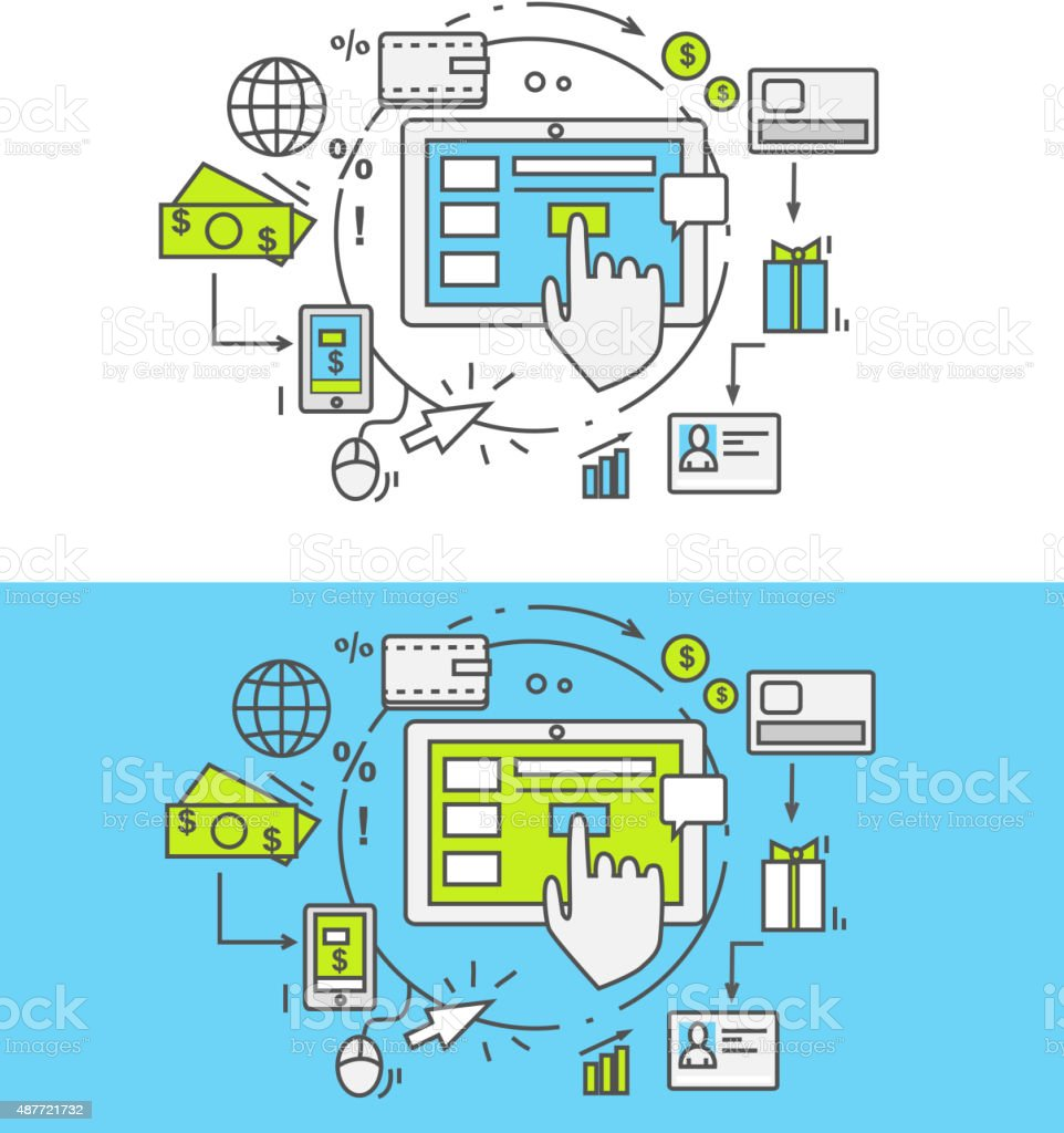 Flat Line Pay Per Click vector art illustration