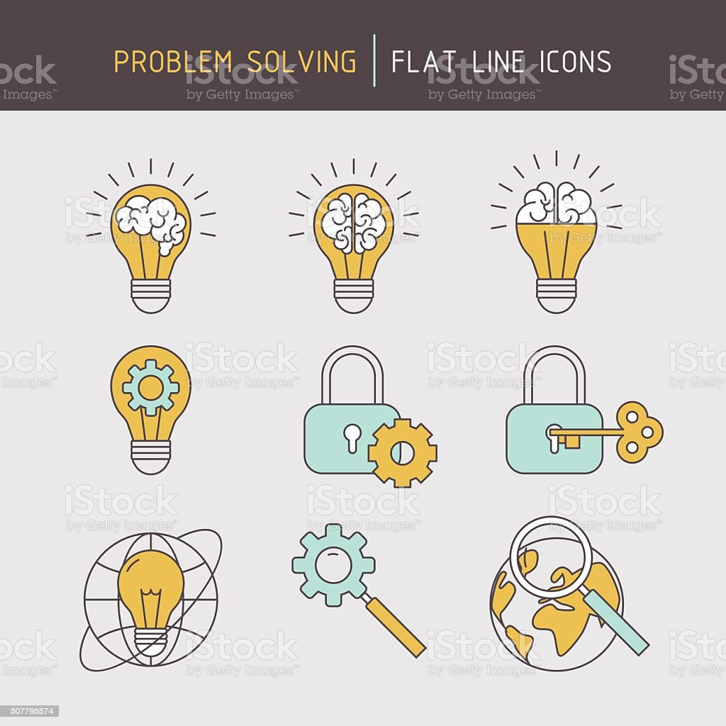 Flat line problem solving icons vector art illustration