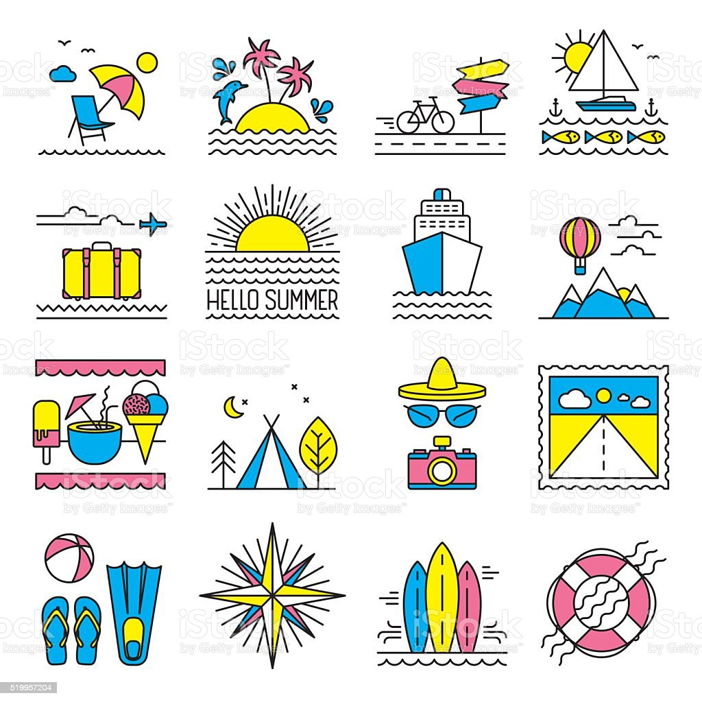 Flat line summer icons vector art illustration