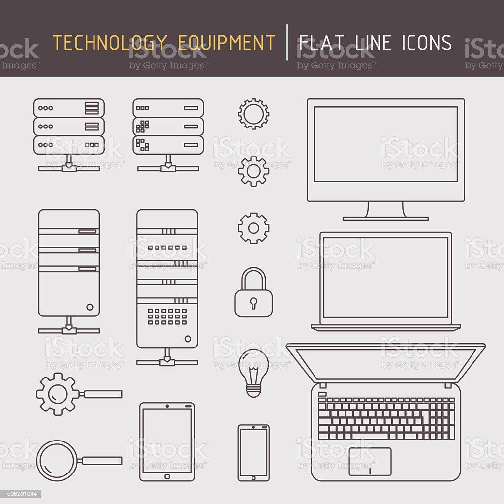 Flat line technology equipment vector art illustration