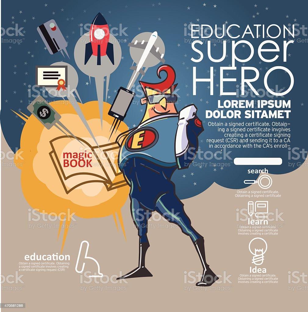 Flat linear Infographic Education book super hero concept. vector art illustration