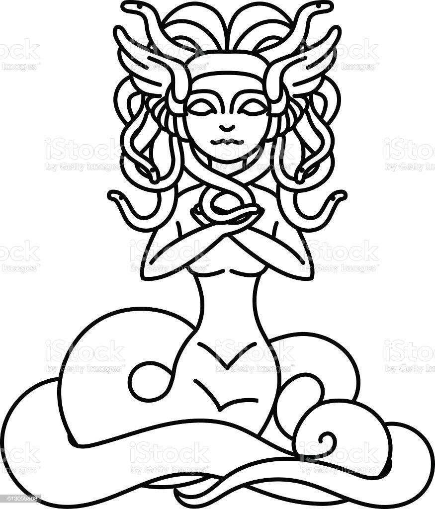 Flat linear Medusa Gorgona illustration vector art illustration