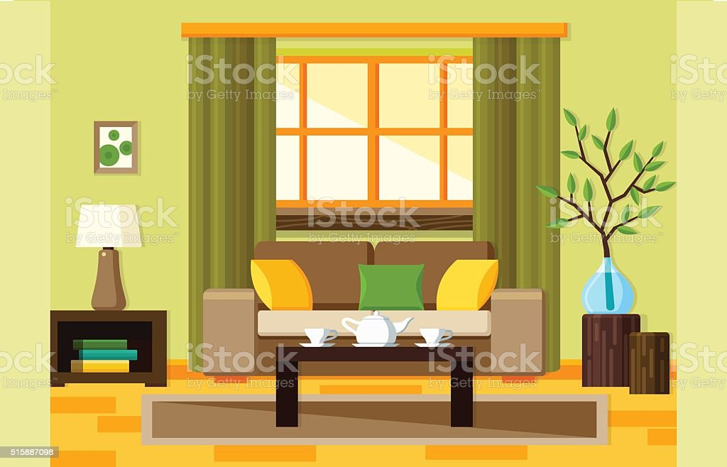 Flat living room vector art illustration