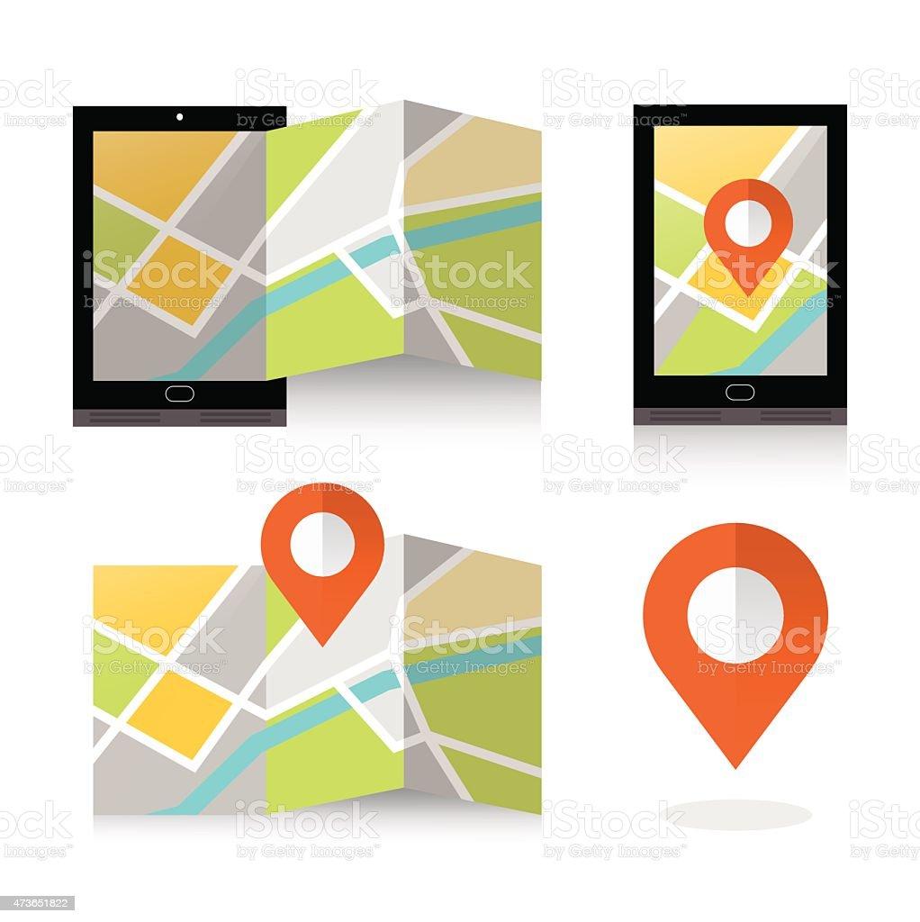flat location icon on smartphone. vector art illustration