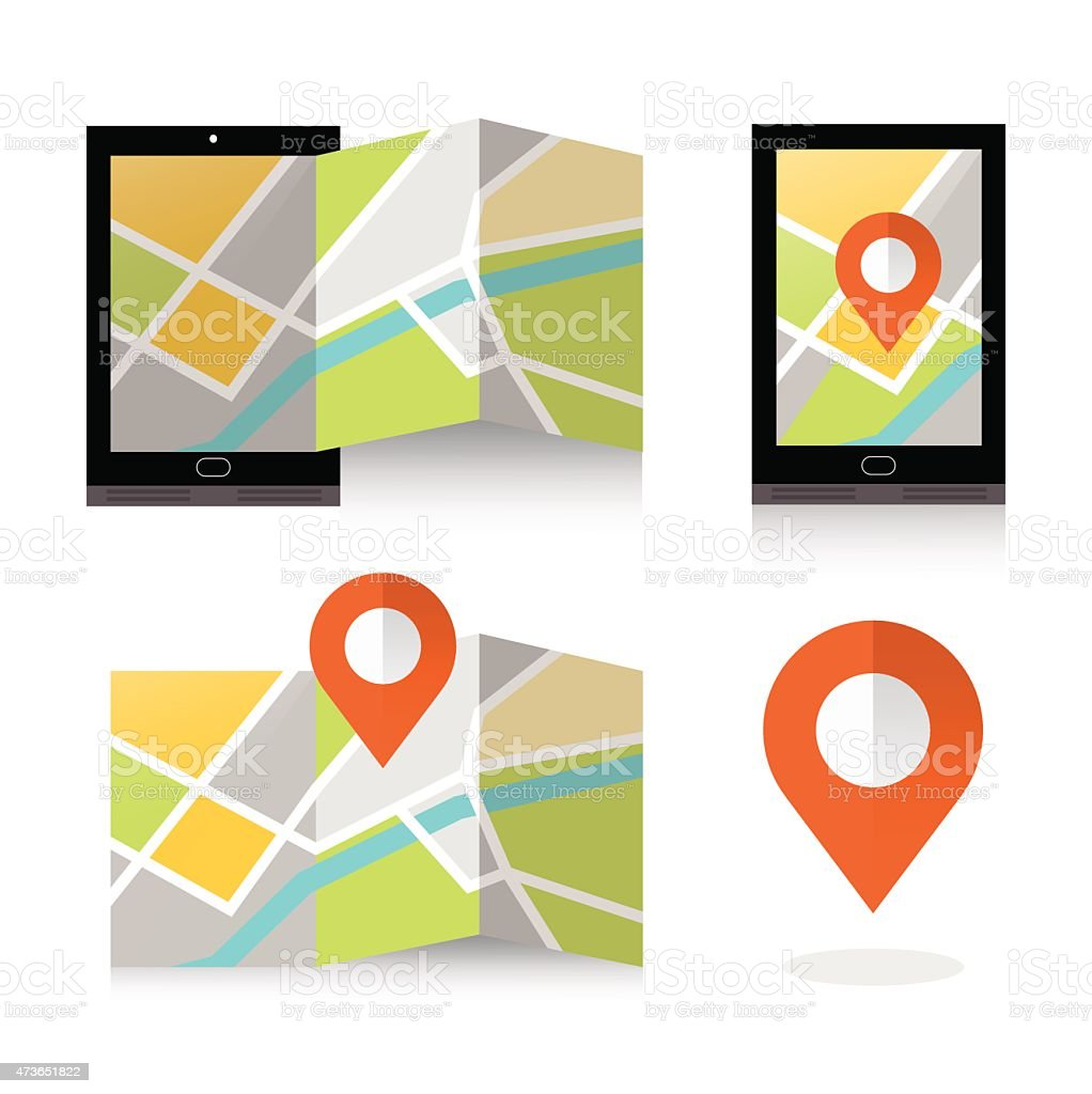 flat location icon on smartphone. vector art illustration