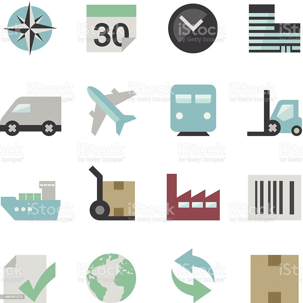Flat logistics Icon Set vector art illustration