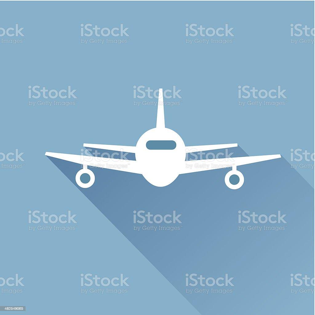 Flat long shadow air plane vector art illustration