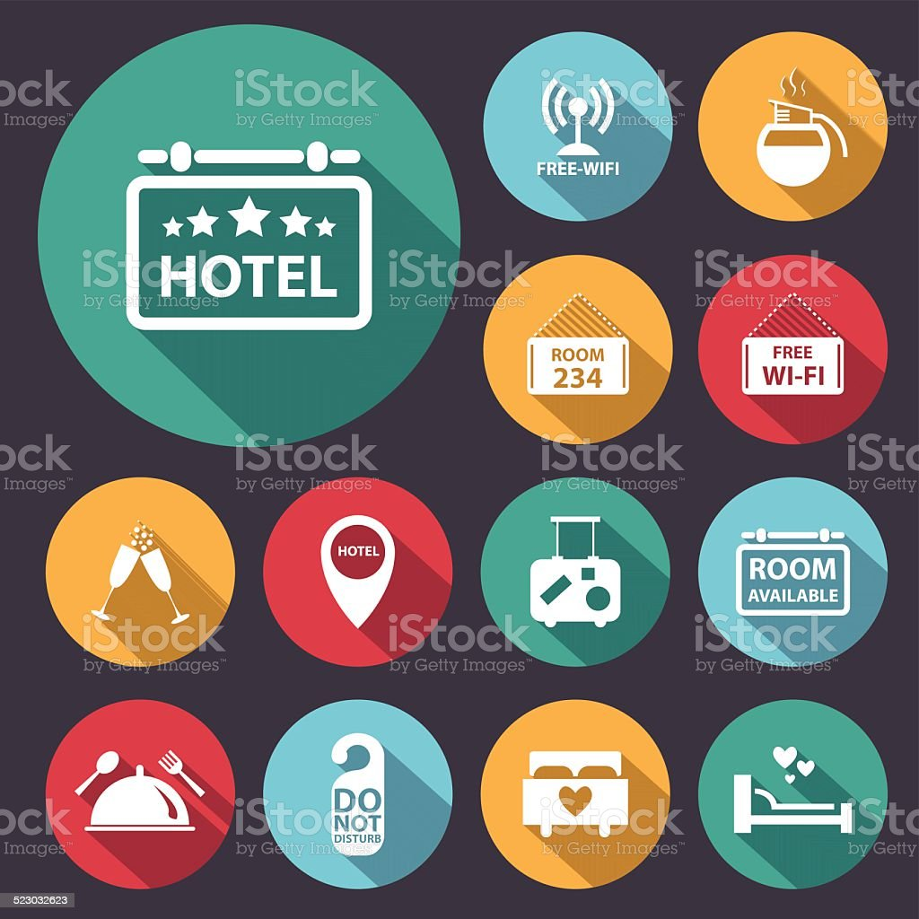 flat long shadow hotel icon set.Vector/Illustration. vector art illustration