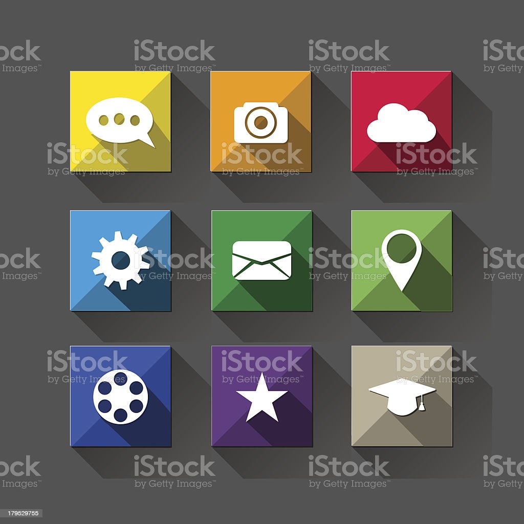 Flat long shadow web icons royalty-free stock vector art