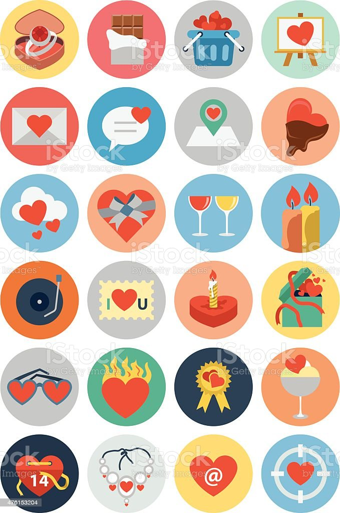 Flat Love and Romance Vector Icons 1 vector art illustration