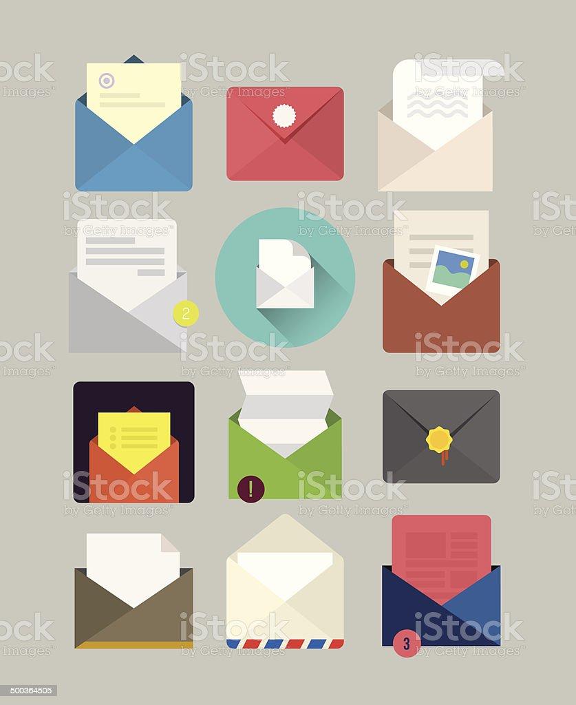 Flat mail icons vector art illustration