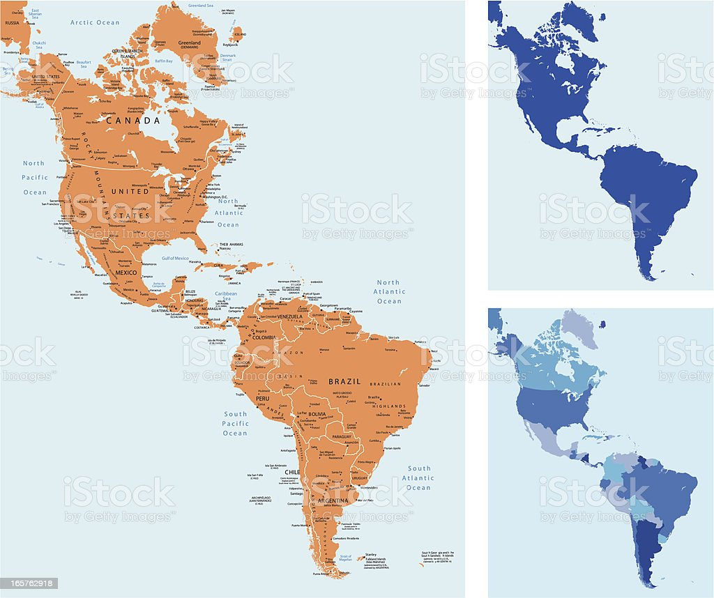 Flat map icons of the Americas vector art illustration