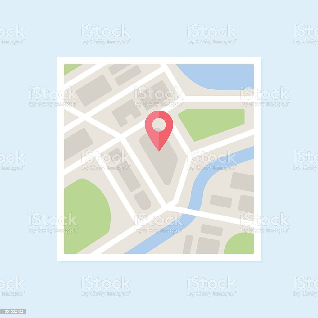 Flat Map With Pin vector art illustration