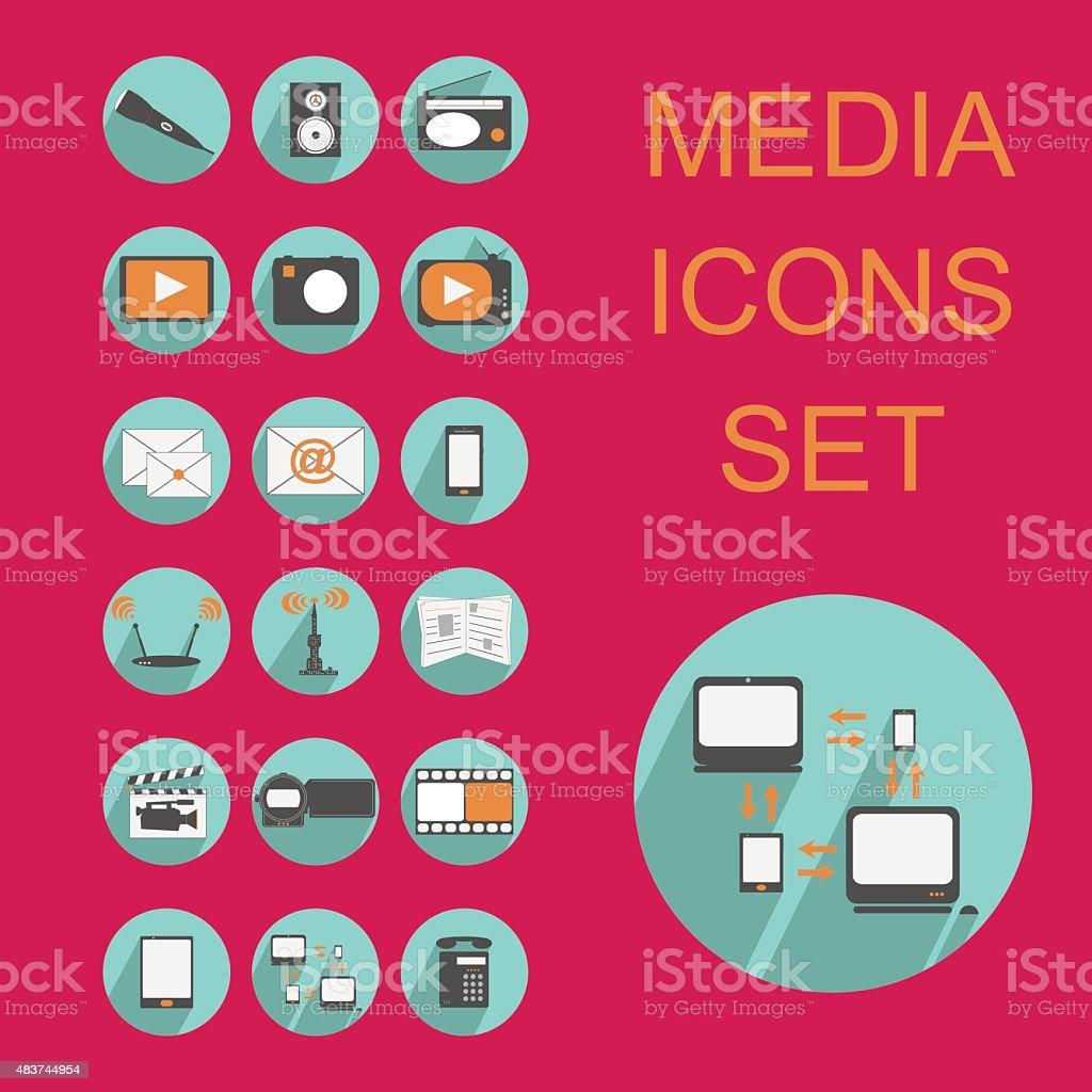 flat media icons set vector art illustration