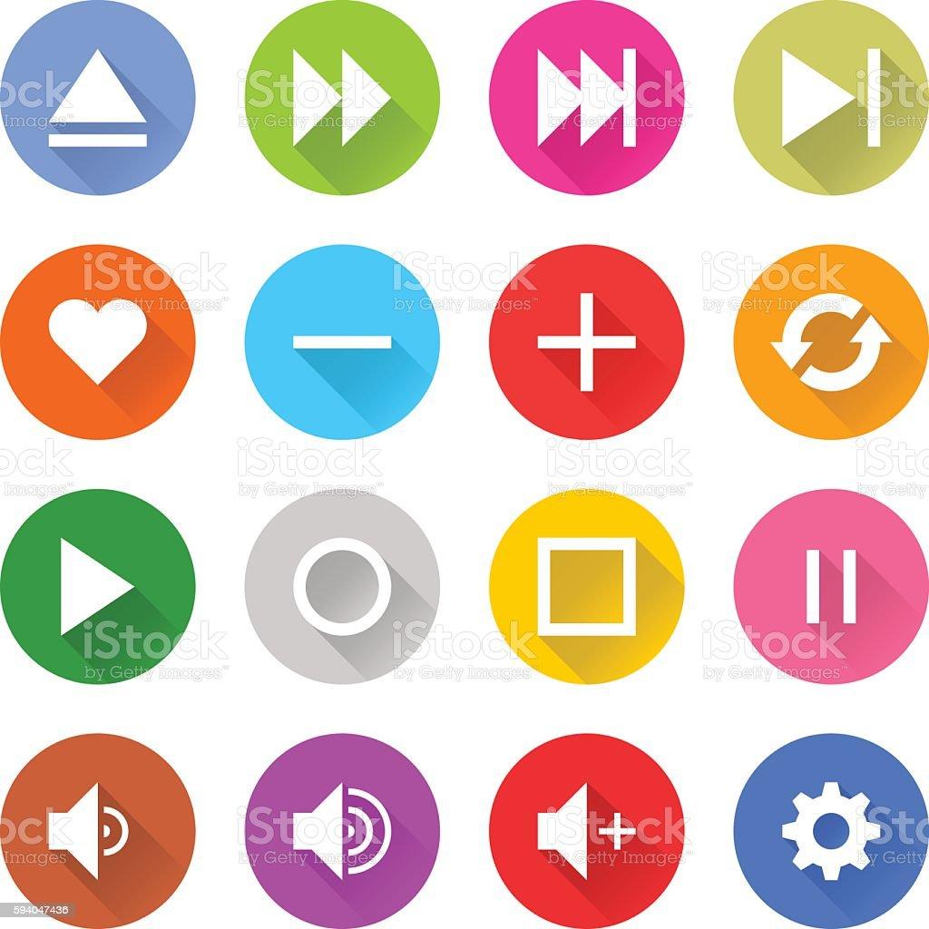 Flat media sign web internet buton vector art illustration