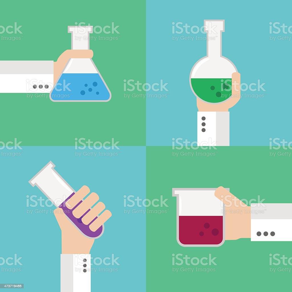 Flat medical flask set vector art illustration