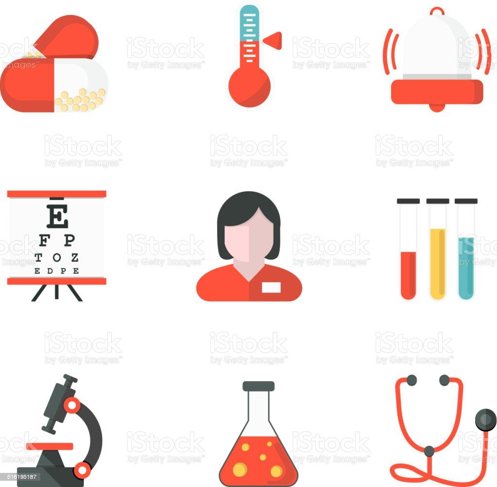 Flat Medicine icons vector art illustration