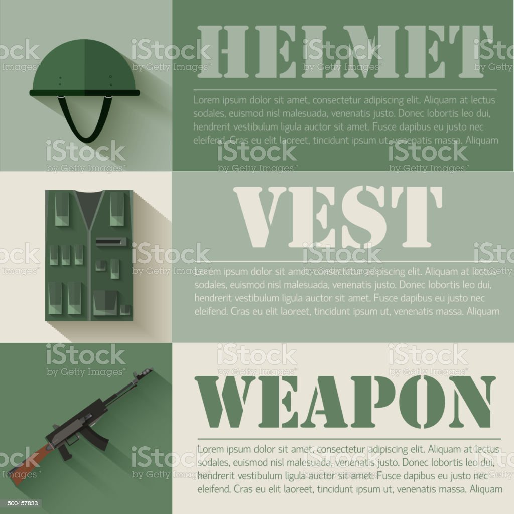 flat military soldier equipment set design royalty-free stock vector art