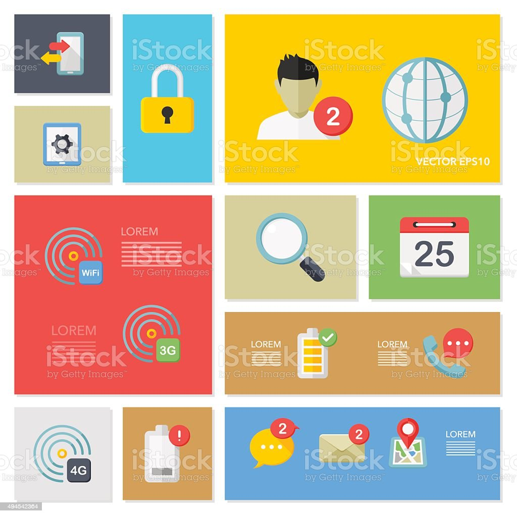 Flat mobile and communication  icon vector art illustration
