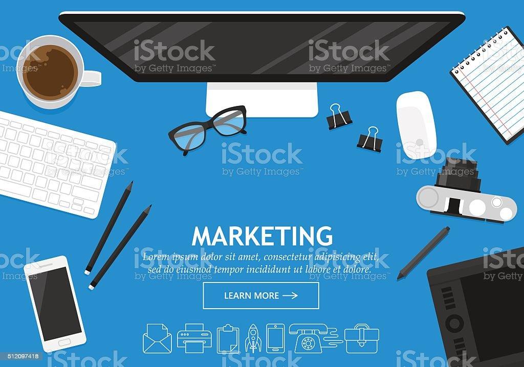 Flat modern design concept for business marketing website banner vector art illustration