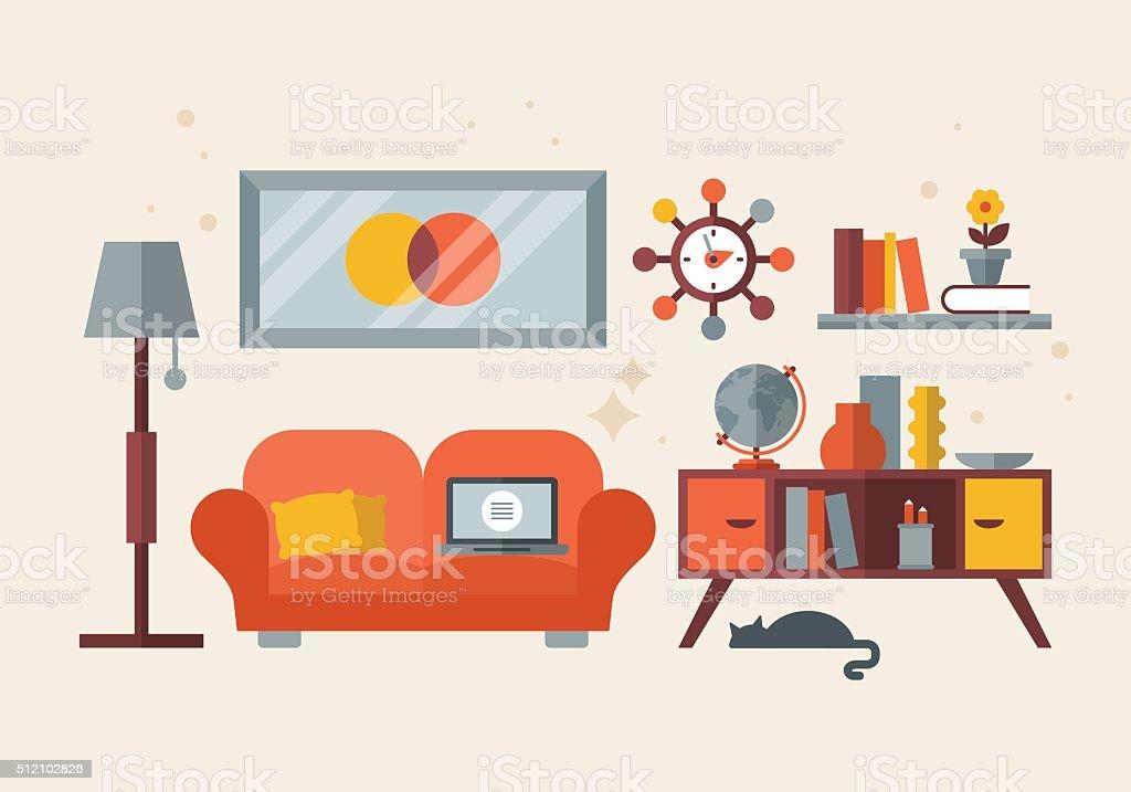 Flat modern design for mid century living room. Home office vector art illustration