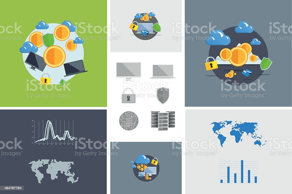 Flat modern design vector illustration and icon. Concept electronic commerce vector art illustration