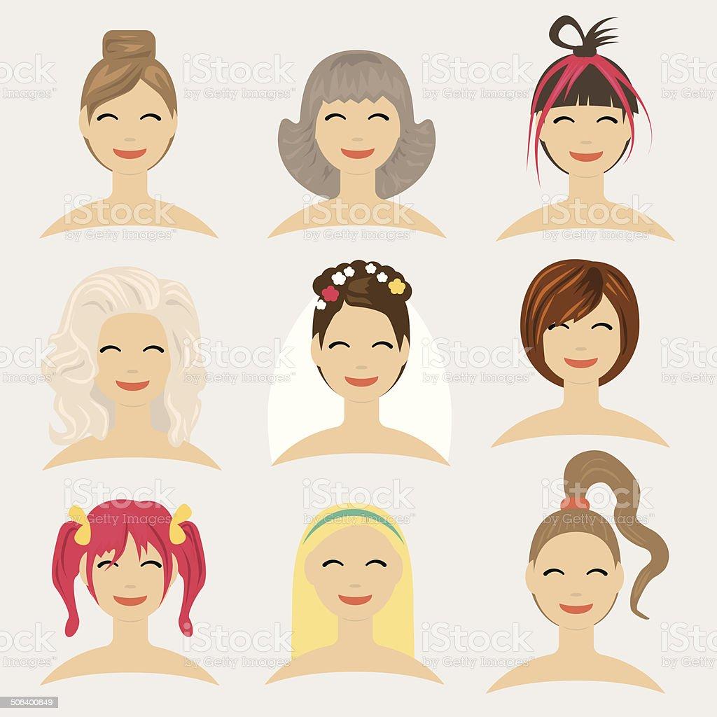 Flat modern design vector illustration concept of hairstyles vector art illustration