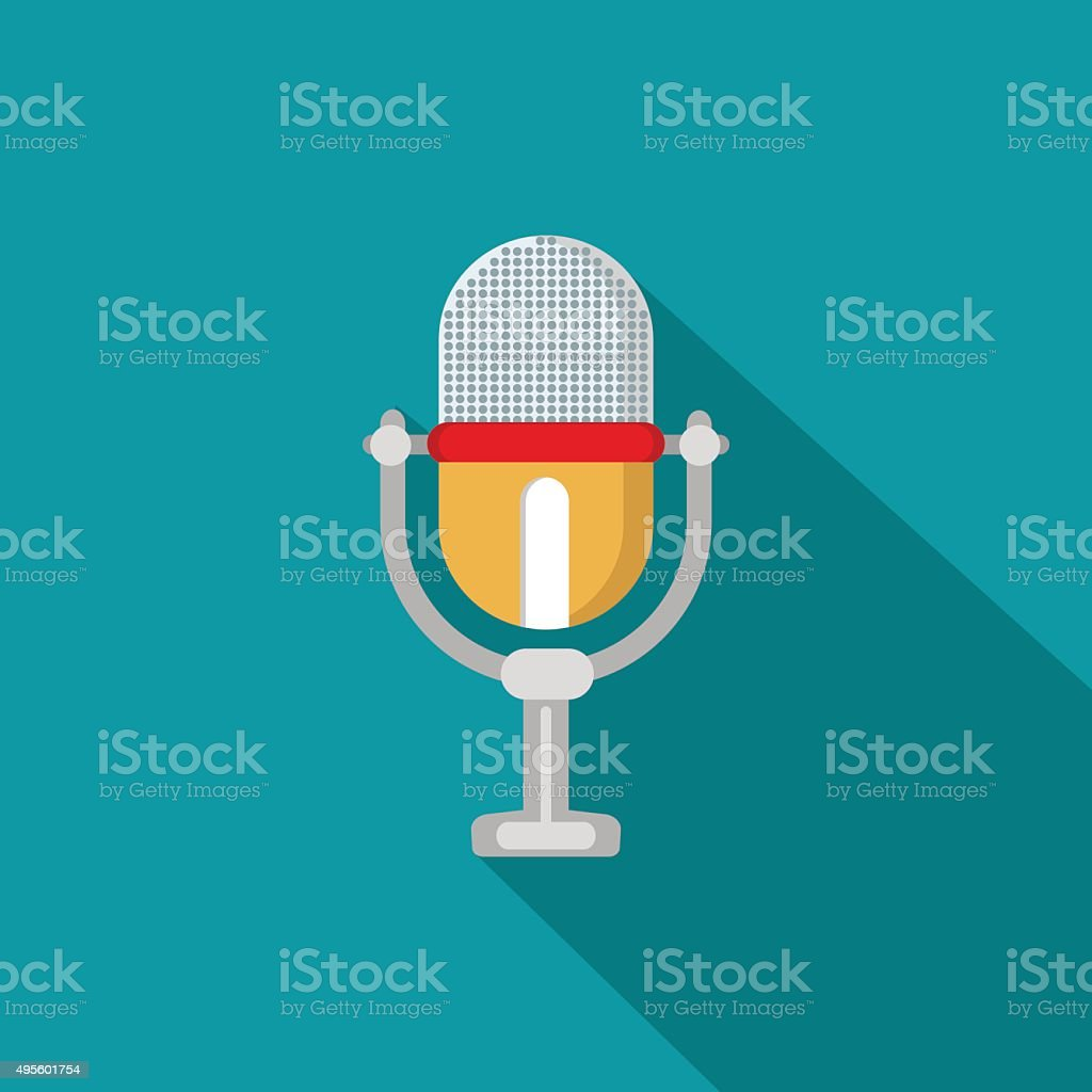 Flat modern design with shadow icon microphone vector art illustration