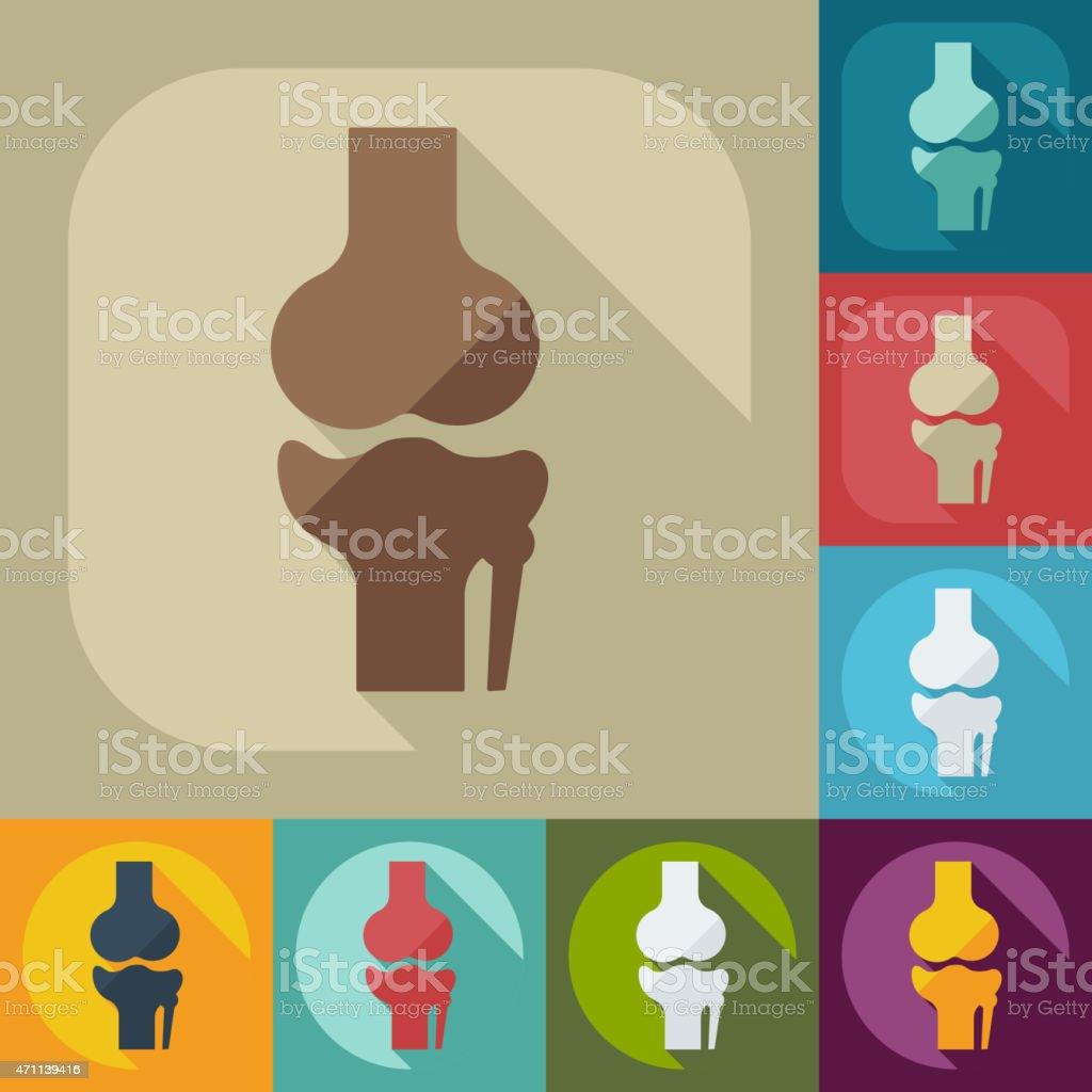 Flat modern design with shadow knee-joint vector art illustration