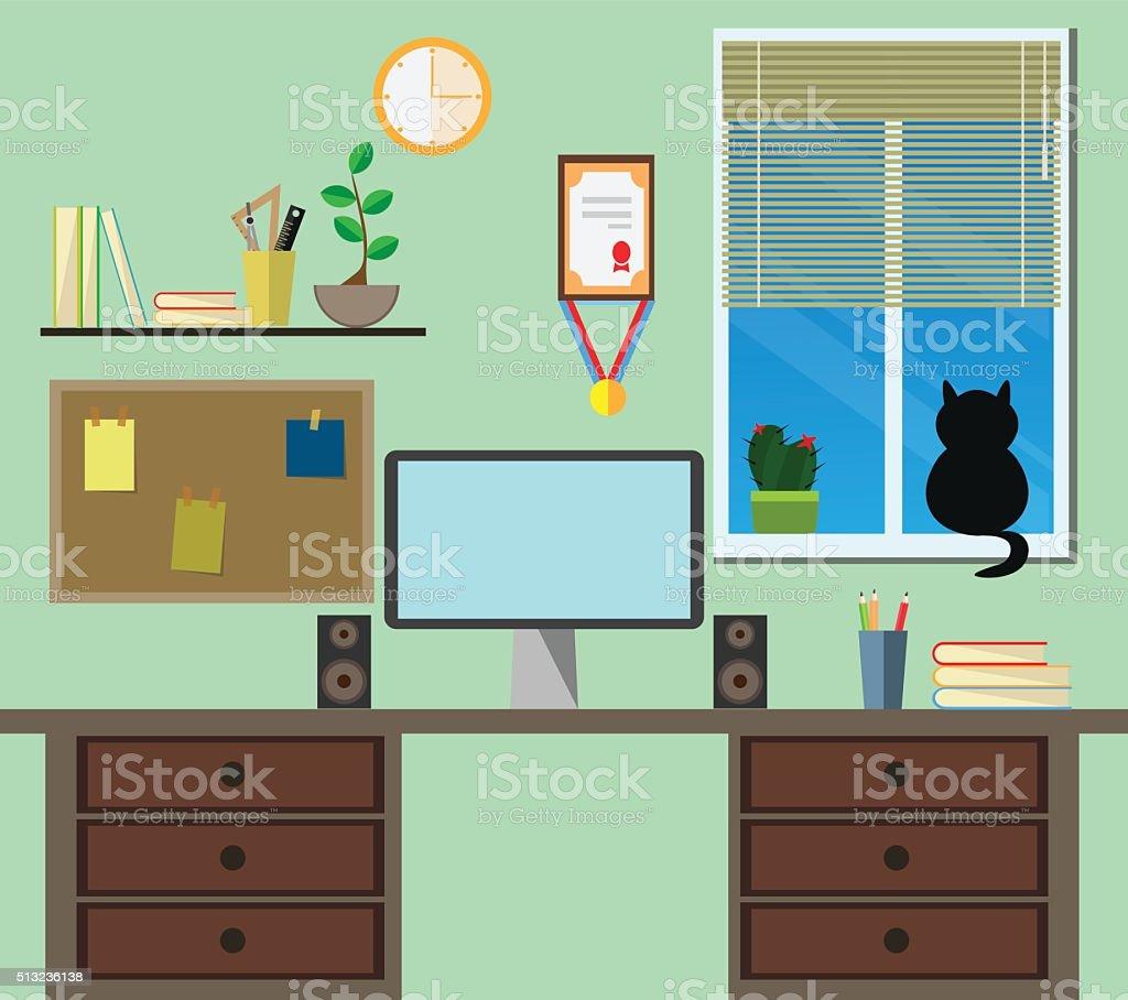 Flat modern design workplace. vector art illustration