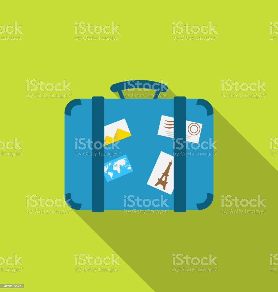 Flat modern icon handle baggage funky stickers photo vector art illustration