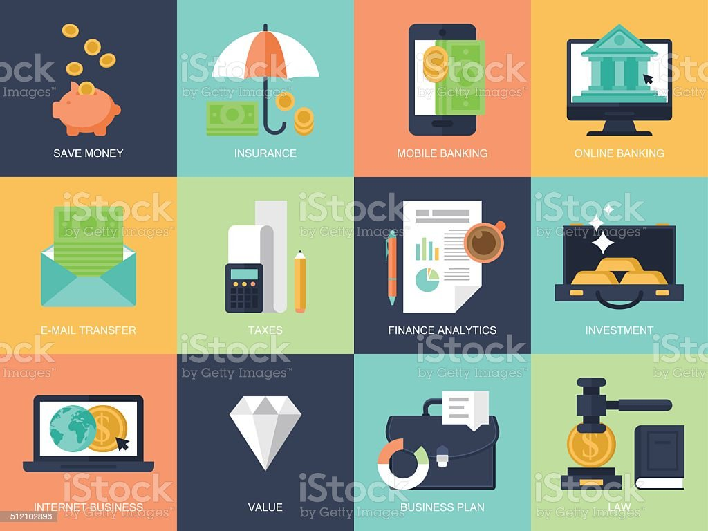 Flat modern icons for banking, finance and business vector art illustration