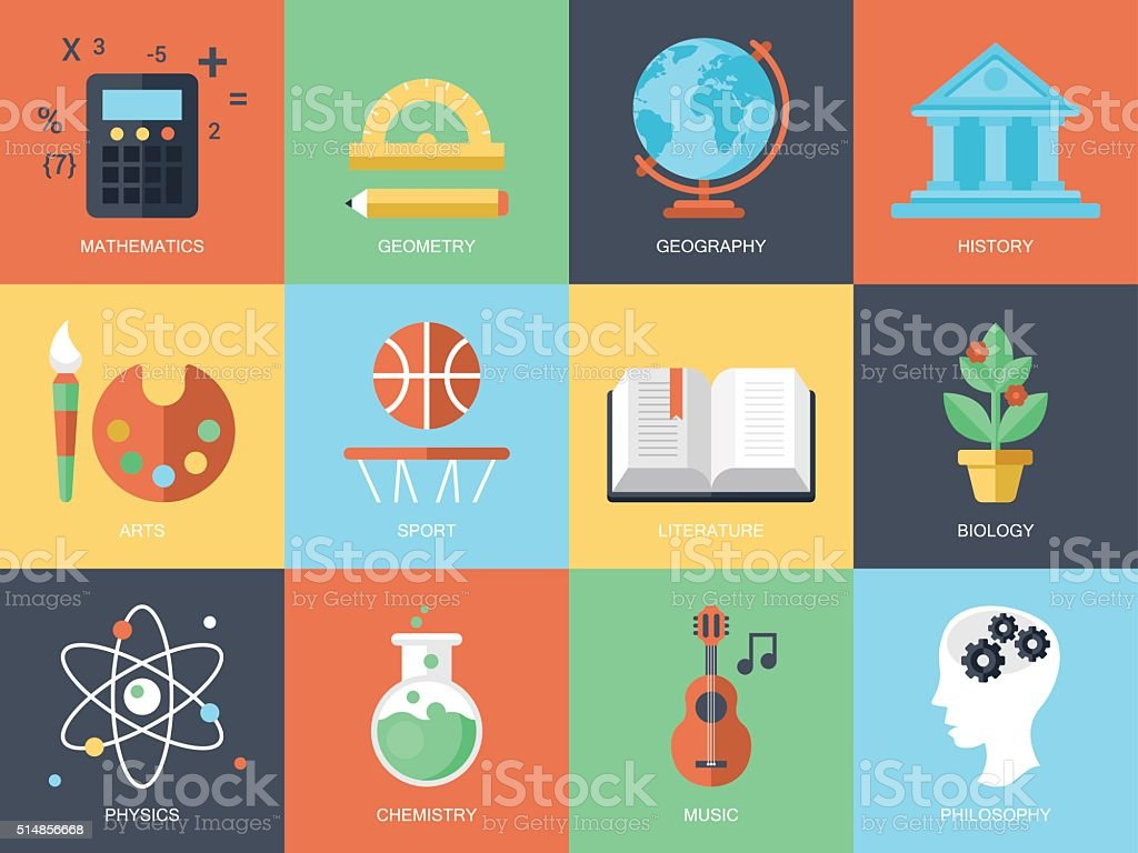 Flat modern icons for education and professions vector art illustration