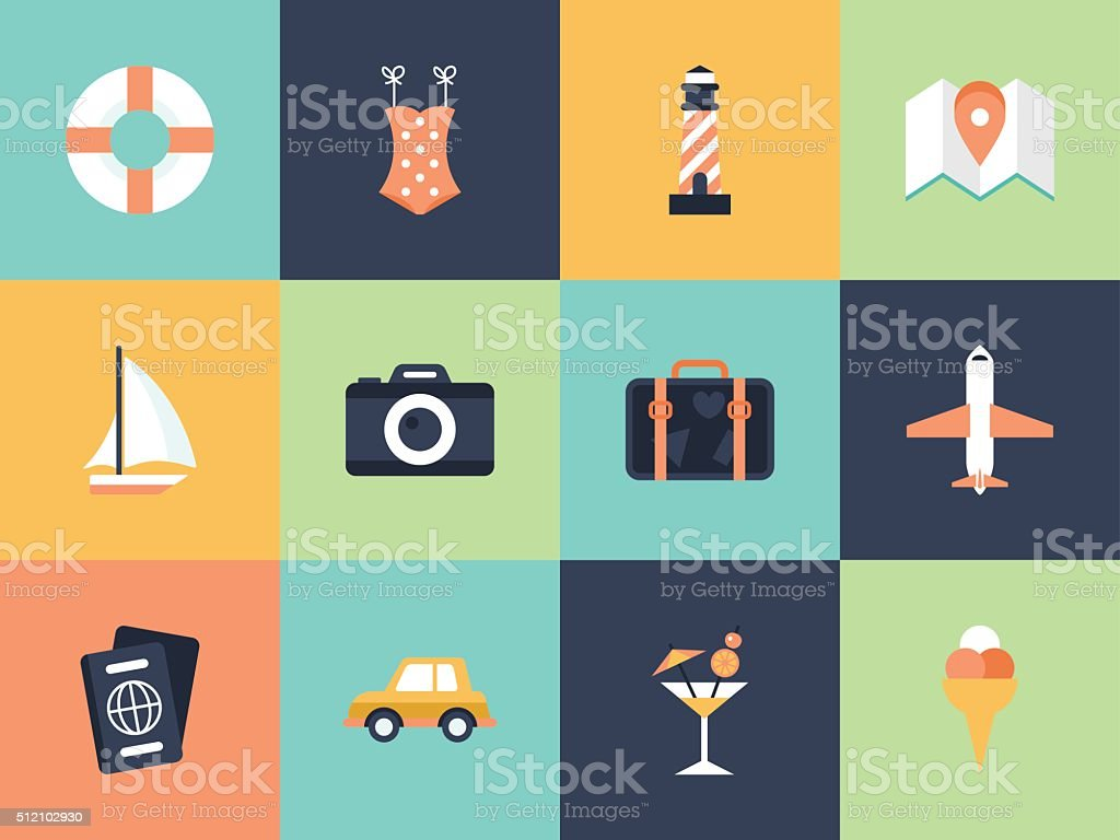 Flat modern icons for summer holiday vacation concept. vector art illustration