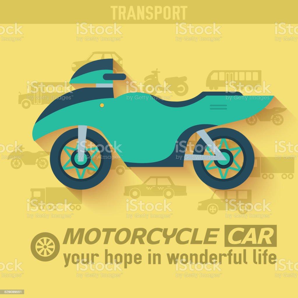 Flat motorcycle background illustration concept. vector art illustration