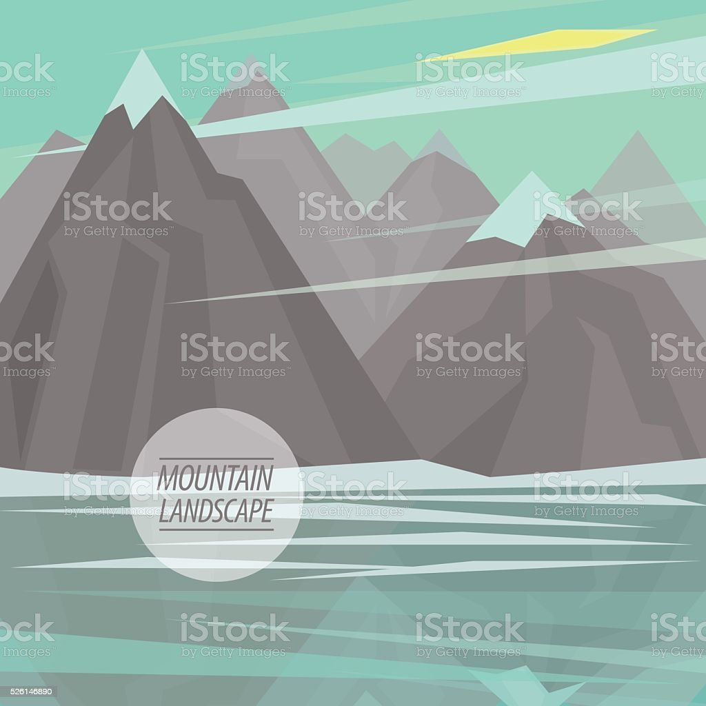 Flat mountain landscape with big lake vector art illustration