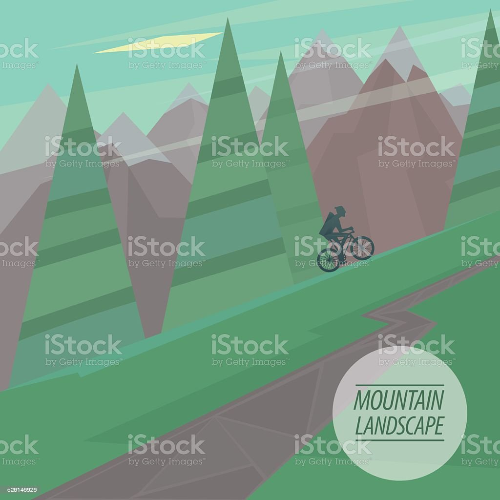 Flat mountain landscape with steep slopes, trees and cyclist riding vector art illustration