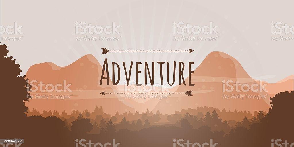 Flat Mountain Treeline Landscape with Adventure Logo vector art illustration