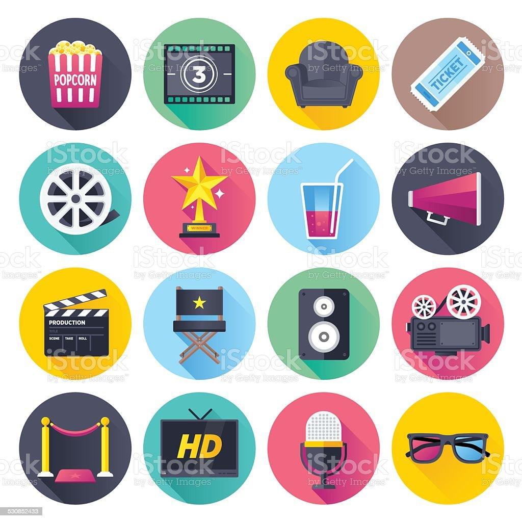 Flat Movie Icons vector art illustration