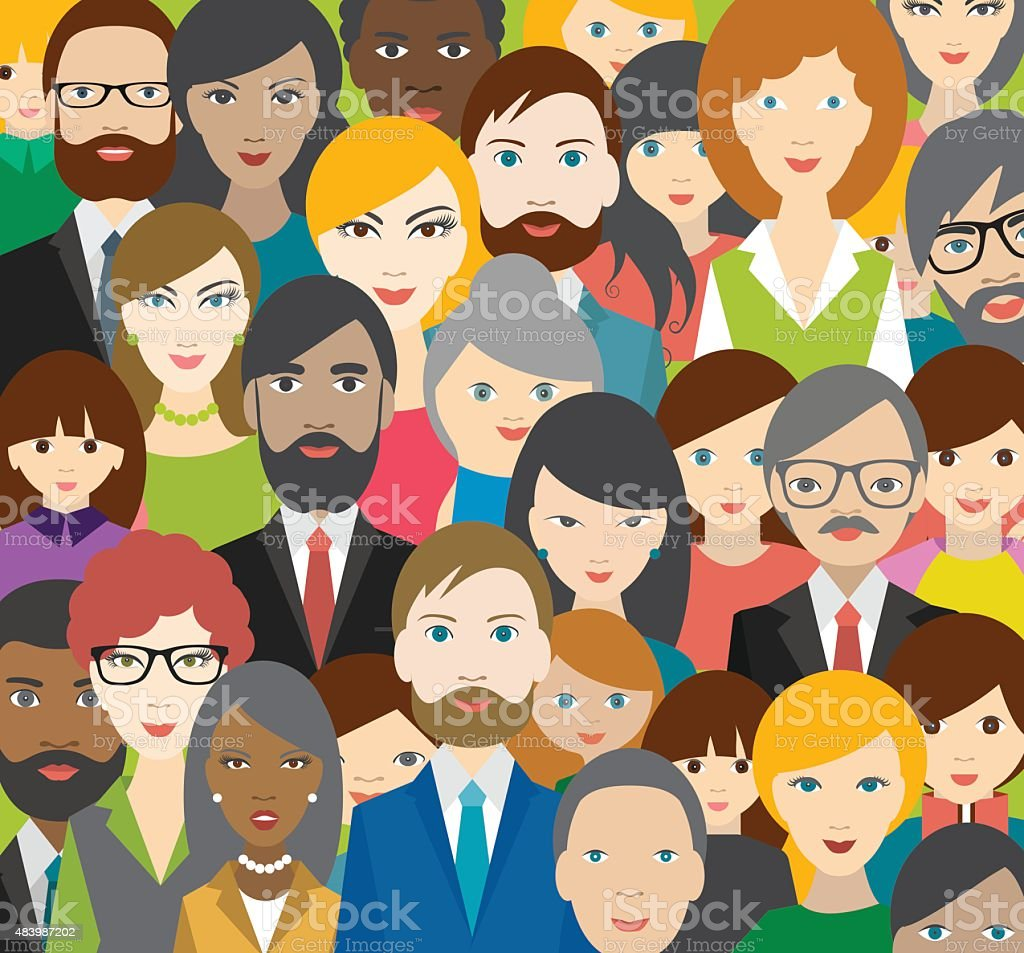Flat multicultural people heads patter. Vector. vector art illustration