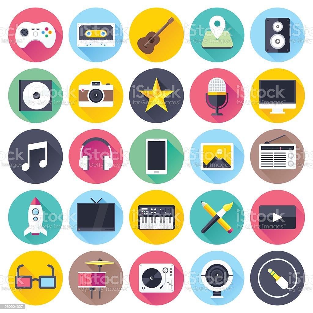 Flat Multimedia Icons vector art illustration