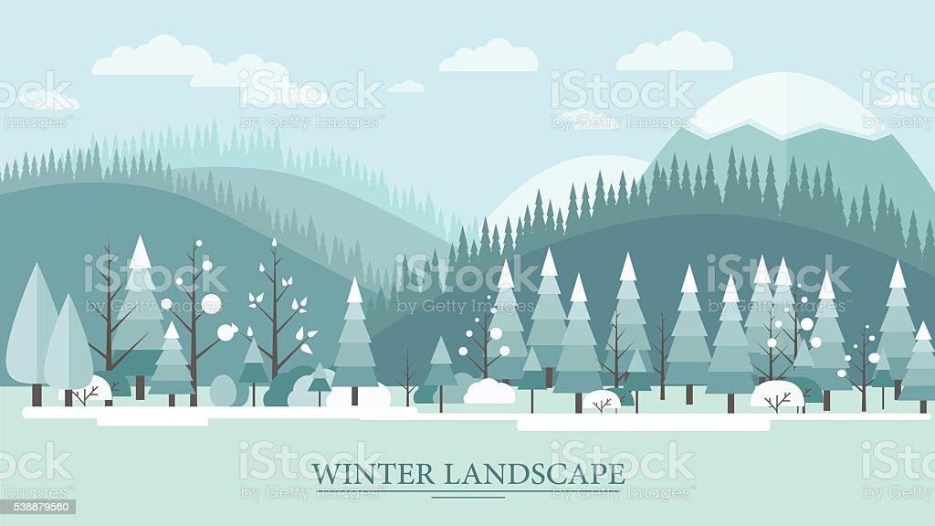 Flat nature winter landscape illustration vector art illustration